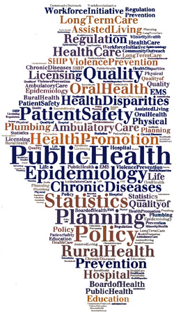 image of state outline filled with public health related words and phrases