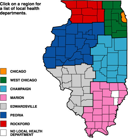 Regional Map For Local Health Departments - Illinois on the us map